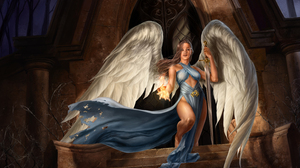 Angel Angel Warrior Arch Brown Hair Building Fantasy Flame Magic Sword Wings 3000x2025 Wallpaper