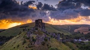 Cloud Corfe Castle Dorse England Hill 3840x2160 Wallpaper
