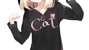 Anime Anime Girls Hoods Platinum Blonde Simple Background Vertical Blonde Blond Hair Striped Stockin 1505x2125 Wallpaper
