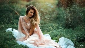 Blonde Depth Of Field Girl Long Hair Model Necklace Woman 2048x1367 Wallpaper
