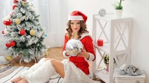 Brunette Christmas Girl Lipstick Model Santa Hat Woman 2560x1703 Wallpaper