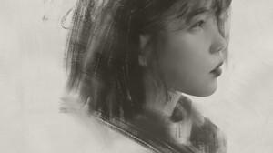 Artwork Women Asian Portrait Face Drawing Simple Background Monochrome 1920x2715 Wallpaper