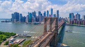 Cityscape Bridge Brooklyn Bridge Architecture Skyscraper River Cruise Ship Speed Boat American Flag  1920x1078 Wallpaper