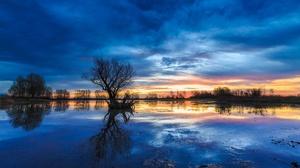 Nature Lake Tree Sunrise 2048x1388 wallpaper