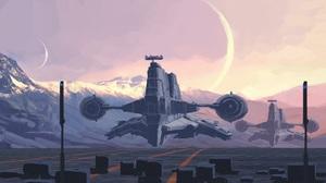 Science Fiction Spaceship Artwork Digital Art Sky Mountains Cyberpunk Futuristic Moon Sunset Morning 3200x1695 Wallpaper