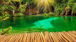 Croatia Lake Park Plitvice Sunshine Waterfall 3300x2200 Wallpaper