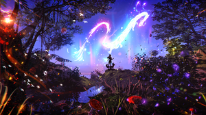 Ryky Digital Art Forest Dragon Fox Women Birds Flowers Mushroom Bokeh 2560x1440 Wallpaper
