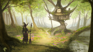 Broom Forest Girl Tree House Witch Witch Hat 5100x3300 Wallpaper