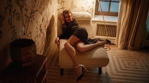 Women Natalia Emelianenko Brunette Dress Black Clothing Dots Legs High Heels Relaxing Warm Light 2024x1139 Wallpaper
