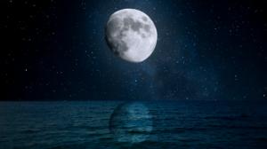 Night Sky Moon Stars Moonlight Sea High Contrast 3840x2160 Wallpaper