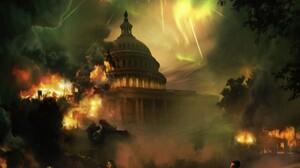 Fantasy Apocalypse War Fire Destruction White House 2048x1152 Wallpaper