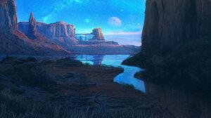 AlexDjayk Digital Art River Desert Science Fiction Illustration Artwork ArtStation DeviantArt 2500x1471 Wallpaper