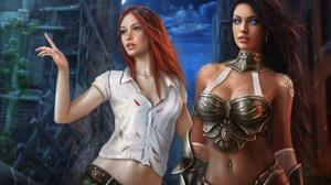 Jorsch Drawing Women Two Women Redhead Dark Hair Blue Eyes Glowing Eyes Shirt Torn Clothes Armor Fan 2419x1613 Wallpaper