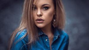 Women Face Portrait Jeans Jacket Depth Of Field Looking At Viewer 500px 2048x1365 Wallpaper