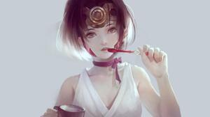 Koutetsujou No Kabaneri Short Hair Brunette Anime Girls Mumei Bare Shoulders Looking At Viewer Red R 4454x2528 Wallpaper