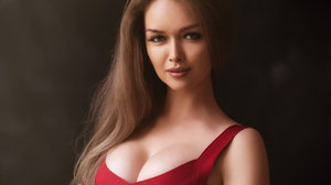 Roman Popov Women Brunette Long Hair Looking At Viewer Dress Red Clothing Simple Background Portrait 1280x1024 Wallpaper