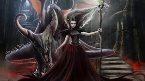 Dragon Fantasy Witch 1280x1024 wallpaper