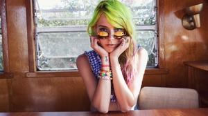 Chloe Norgaard Women Model Long Hair Young Woman Danish Multicolored Hair Green Hair Indoors Women W 1280x857 Wallpaper