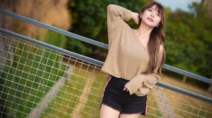 Asian Model Women Long Hair Brunette Shorts Railings Pullover Trees Bushes Grass 3840x2160 Wallpaper