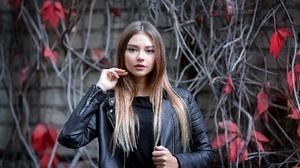 Blue Eyes Brunette Girl Leather Jacket Model Woman 2048x1365 wallpaper