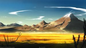 Michal Kva Digital Art Illustration Artwork Desert ArtStation Mountains Landscape 1920x1080 Wallpaper