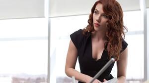 Scarlett Johansson Black Widow Actress Women Redhead Black Dress Makeup Lipstick Women Indoors Marve 2560x1600 Wallpaper