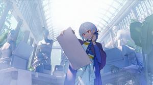 Anime Anime Girls Blue Hair Long Hair Red Eyes Statue Plants Tablet Keyboards CRT Monitor Wristband  2790x1440 Wallpaper