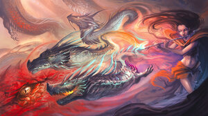 Dragon Wings Fantasy Art Fantasy Girl Women Music Musical Instrument Creature Long Hair Closed Eyes 3205x1870 Wallpaper