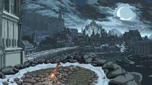 Dark Souls Irithyll Bonfire City Pixel Art 1920x1080 Wallpaper