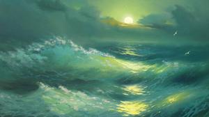 Artistic Ocean Painting Sunset Wave 1600x1200 Wallpaper