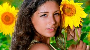 Women Brunette Long Hair Field Sunflowers Flowers Eyes Nose Lips Mouth Brown Eyes Model Women Outdoo 5760x3840 Wallpaper