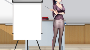 Teachers Classroom Anime Anime Girls Blue Eyes Long Hair Thin Eyebrows Black Hair Heels Skirt Short  4100x3100 Wallpaper