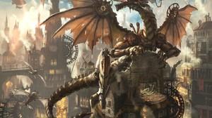 Clockworks Steampunk Fantasy Art Dragon Fantasy City 1407x1000 Wallpaper