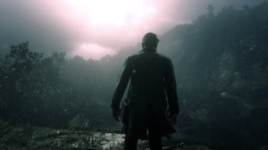 Red Dead Redemption 2 Arthur Morgan Water Drops Rain Screen Shot Cliffside Mist Foliage 1920x1080 Wallpaper