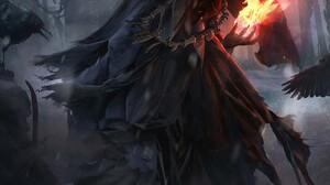 Wizard Fire Fantasy Art Artwork 1300x1818 Wallpaper