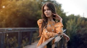 Women Model Brunette Bridge Portrait Outdoors Long Hair Depth Of Field Orange Dress Brown Eyes Vyach 1920x1280 Wallpaper