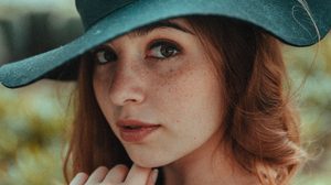 Women Freckles Looking At Viewer Lipstick Hat Redhead Face Parted Lips Thick Eyebrows Thick Eyelashe 5114x3410 Wallpaper