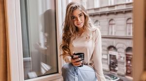 Women Blond Hair Blonde Long Hair Looking At Viewer Jeans Coffee City Black Nails Nail Polish 4K Gra 3840x2400 Wallpaper