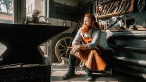 Andrew Vasiliev Men Redhead Beard Looking Away Apron Weapon Sword Blacksmith Workshop 2048x1152 Wallpaper
