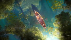 Artwork Digital Art Lake Boat Astronaut Water Lilies Plants Top View Landscape 2900x1210 Wallpaper