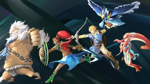 Daruk The Legend Of Zelda Link Mipha The Legend Of Zelda Revali The Legend Of Zelda Urbosa The Legen 5296x2840 Wallpaper