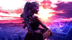 Cyberpunk Cyborg Futuristic Ponytail Weapon White Hair 3600x2025 wallpaper