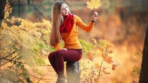 Fall Blonde Girl Woman Depth Of Field Long Hair Scarf 1920x1280 Wallpaper
