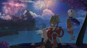 Anime Anime Girls Genshin Impact Fireworks 3500x2286 wallpaper
