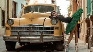 Cuba Women Car Model Vehicle Urban Women Outdoors Tiptoe Ballet Slippers Legs Yellow Cars Dancer Tut 3840x2160 Wallpaper