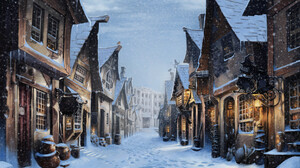 Diagon Alley Harry Potter House Snow Winter 4120x2717 Wallpaper