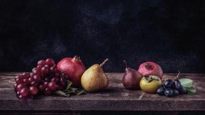 Grapes Pear Persimmon Pomegranate 3600x2177 Wallpaper