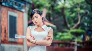 Asian Black Hair Depth Of Field Girl Model White Dress Woman 3840x2561 Wallpaper