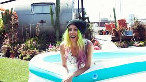 Chloe Norgaard Women Model Blue Eyes Laughing Multi Colored Hair Green Hair Danish Long Hair Young W 1280x854 Wallpaper