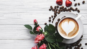 Coffee Coffee Beans Cup Drink Rose Still Life 5213x3320 Wallpaper